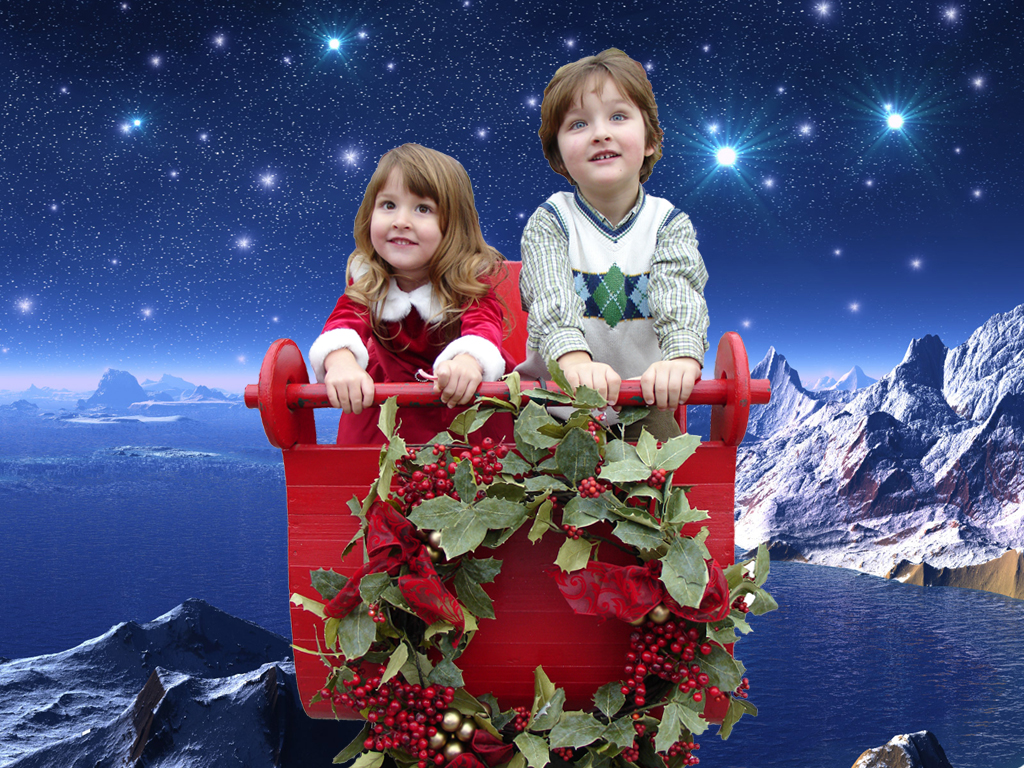 Christmas Kids in a Balloon Basket
