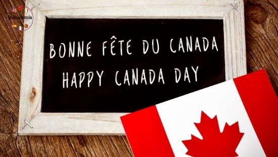 The Canadian flag and a bilingual Happy Canada Day message for people tring to learn French