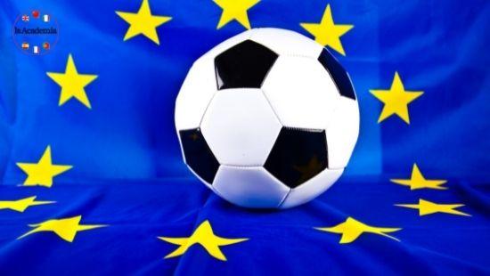 A football on the Europeam flag.
